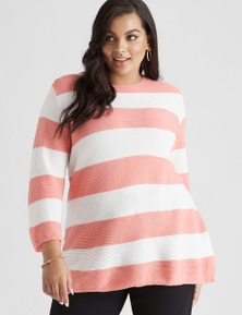 Beme 3/4 Sleeve Peach Stripe Jumper