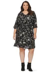 Beme 3/4 Sleeve Botanical Mono Dress