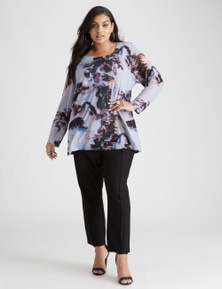 Beme Long Sleeve Abstract Mesh Print Top