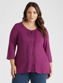 Beme 3/4 Sleeve Pleat Front Knit Top