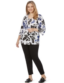 Beme 3/4 Sleeve Abstract Floral Top