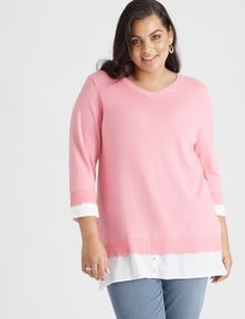 Beme 3/4 Sleeve Pink Twofer