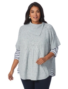 Beme Cable Knit Poncho