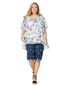 Beme Short Sleeve Butterfly Layered Top