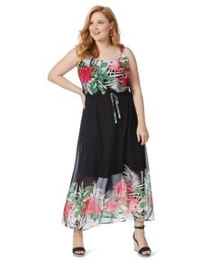 Beme Sleeveless Border Tropic Maxi Dress