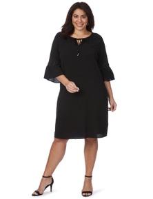Beme 3/4 Frill Sleeve Stud Peasant Dress