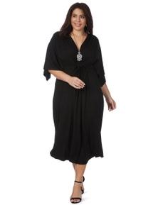 Beme Elbow Sleeve Black Midi Wrap Dress