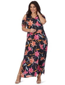 Beme Cold Shoulder Tropical Maxi Dress