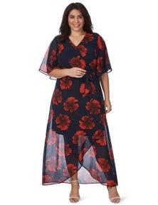 Beme Elbow Sleeve V Neck Poppy Maxi Dress