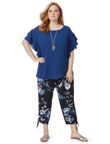 Beme 3/4 Tie Hem Blue Floral Soft Pant