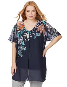 Beme Short Sleeve V Neck Floral Embroidered Tunic
