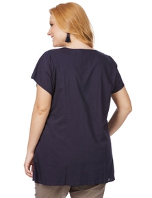 Beme Cap Sleeve Notch Neck Embroidered Tunic