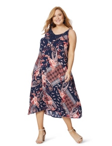 Beme Sleeveless Hanky Hem Lace Dress