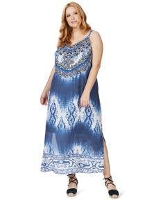 Beme Sleeveless V Neck Persian Maxi Dress