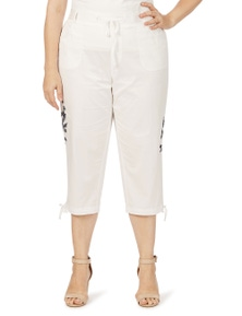 Beme Pull On 3/4 Length Embroidered Poplin Pant