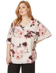 Beme Elbow Sleeve Digital Floral Top