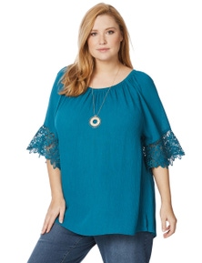 Beme 3/4 Lace Sleeve Teal Top
