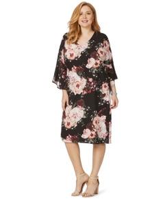 Beme 3/4 Sleeve Floral Dress