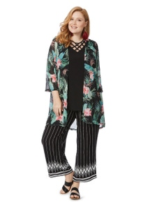 Beme 3/4 Sleeve Crushed Floral Palm Cover Up