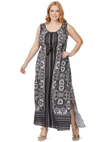Beme Sleeveless Placement Maxi Dress