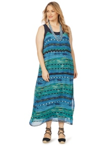 Beme Sleeveless Aztec Stripe Maxi Dress