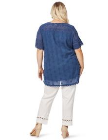 Beme Cap Sleeve Embroidery Angalise Top