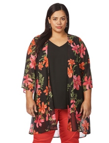 Beme 3/4 Sleeve Tropical Cover Up