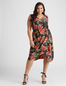 Beme Sleeveless Tropical Midi Wrap Dress