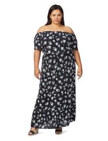 Beme Off Shoulder Paisley Maxi Dress