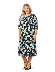 Beme Elbow Sleeve Square Neck Floral Dress