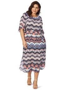 Beme Elbow Sleeve Shirred Neck Dress