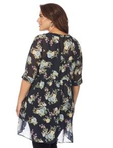 Beme 3/4 Sleeve Peplum Floral Tunic Shirt