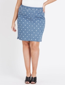 Beme Polka Dot Denim Skirt