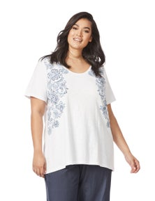 Beme Short Sleeve Paisley Placement Tee