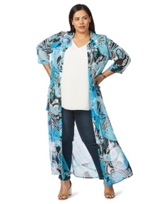 Beme 3/4 Sleeve Paisley Long Line  Cover Up