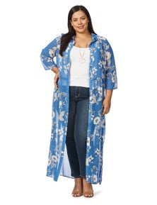Beme 3/4 Sleeve Printed Cover Up
