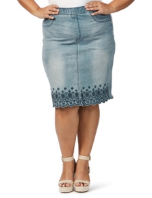 Beme Embroidered Hem Denim Skirt