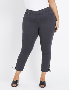 Beme Ankle Eyelet Grey Pull On Jean