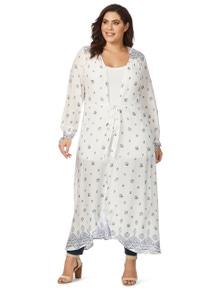 Beme 3/4 Sleeve Long Border Kimono