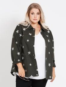 Beme Long Sleeve Star Khaki Jacket