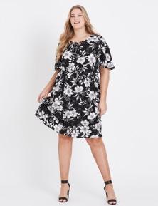 Beme Elbow Sleeve Lace Up Midi Dress