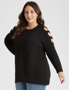 Beme Long Sleeve Cold Shoulder Jumper
