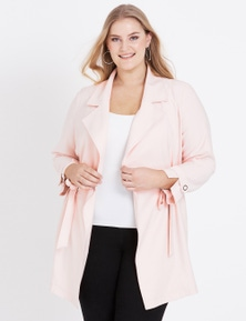 Beme Long Sleeve Pink Trench Coat