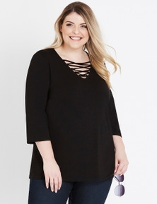 Beme 3/4 Sleeve Lace Up Top