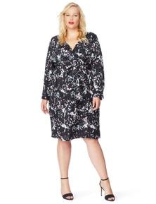 Rebel Wilson Printed Faux Wrap Dress
