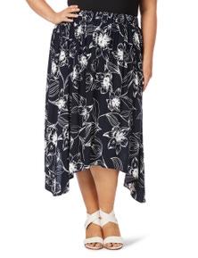 Beme Floral Print Sharkbite Maxi Skirt
