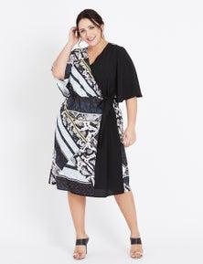 Beme Elbow Sleeve Wrap Splice Dress