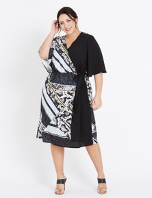 Beme Elbow Sleeve Wrap Splice Dress