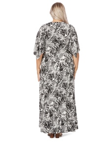 Beme Pleat Front Flutter Sleeve Print Maxi Dress