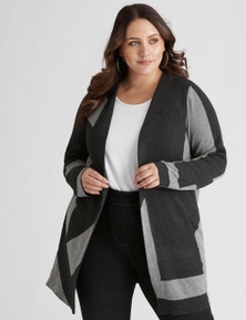 Beme Long Sleeve Grey Block Coatigan
